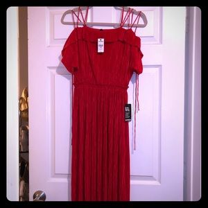 Red dress with pleated detail